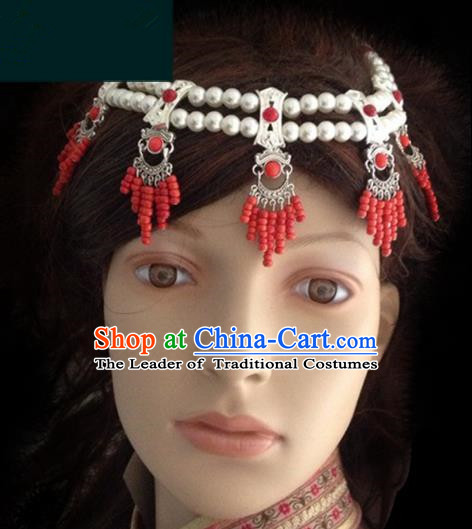 Traditional Chinese Mongol Nationality Bride Hair Accessories Beads Headband, Chinese Mongolian Minority Nationality Headwear for Women