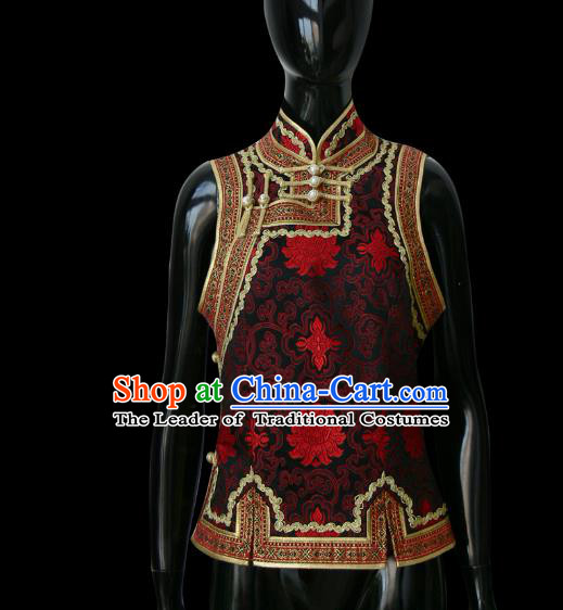 Traditional Chinese Mongol Nationality Dance Costume Mongolian Vest, Chinese Mongolian Minority Nationality Royal Highness Embroidery Waistcoat for Men