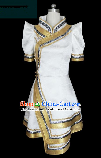 Traditional Chinese Mongol Nationality Dance Costume Short Mongolian Robe, Chinese Mongolian Minority Nationality Young Lady Embroidery Dress for Women