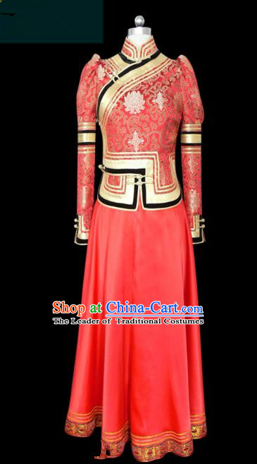 Traditional Chinese Mongol Nationality Dance Costume Red Wedding Mongolian Robe, Chinese Mongolian Minority Nationality Young Lady Embroidery Dress for Women