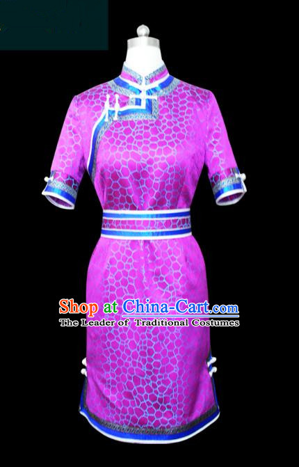 Traditional Chinese Mongol Nationality Dance Costume Purple Mongolian Robe, Chinese Mongolian Minority Nationality Young Lady Embroidery Dress for Women