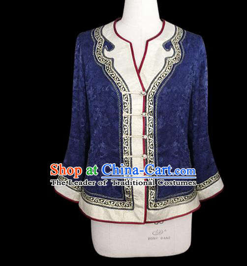 Traditional Chinese Mongol Nationality Dance Costume Mongolian Clothing, Chinese Mongolian Minority Nationality Young Lady Embroidery Blouse for Women