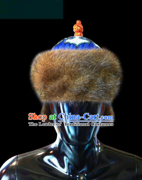 Traditional Chinese Mongol Nationality Royal Highness Hat, Chinese Mongolian Minority Nationality Headwear