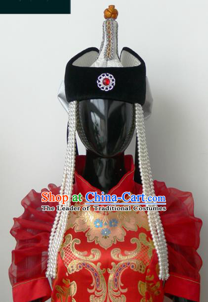 Traditional Chinese Mongol Nationality Princess Hat, Chinese Mongolian Minority Nationality Beads Tassel Headwear for Women