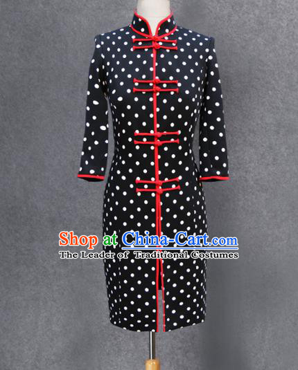 Traditional Ancient Chinese National Costume, Elegant Hanfu Black Coat, China Tang Suit Plated Buttons Upper Outer Garment Dust Coat Clothing for Women