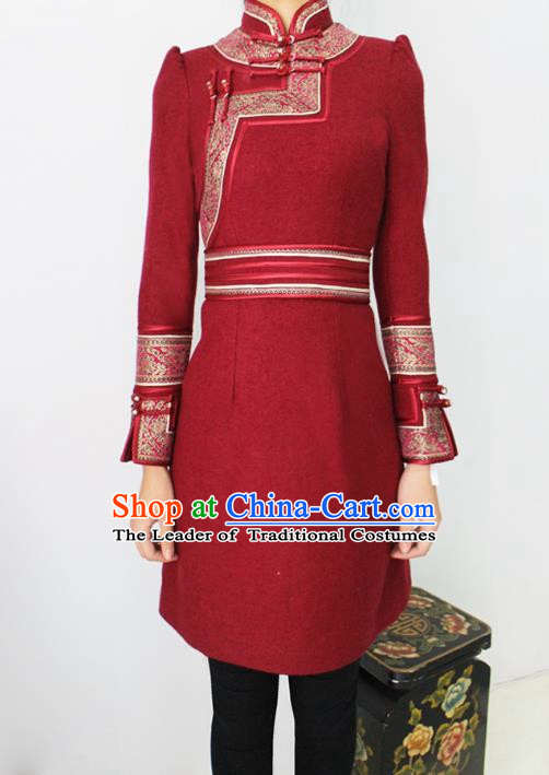 Traditional Chinese Mongol Nationality Dance Costume Red Woolen Dress, Chinese Mongolian Minority Nationality Princess Mongolian Robe for Women
