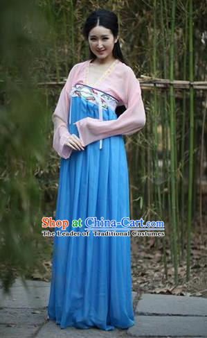 Traditional Ancient Chinese Fairy Princess Embroidered Costume Blouse and Slip Skirt, Elegant Hanfu Chinese Tang Dynasty Swordswoman Dress Clothing