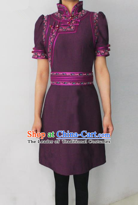 Traditional Chinese Mongol Nationality Dance Costume Purple Short Dress, Chinese Mongolian Minority Nationality Princess Mongolian Robe for Women