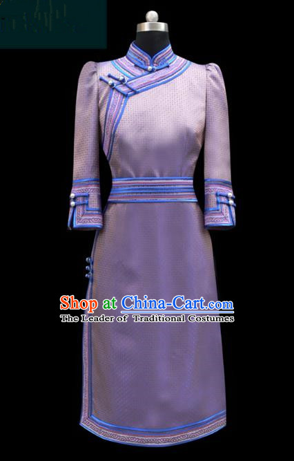 Traditional Chinese Mongol Nationality Dance Costume Lilac Short Dress, Chinese Mongolian Minority Nationality Princess Mongolian Robe for Women