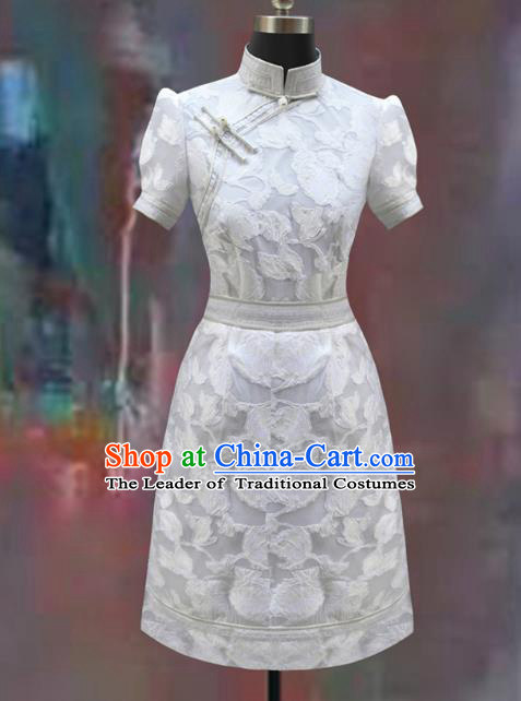 Traditional Chinese Mongol Nationality Dance Costume White Short Dress, Chinese Mongolian Minority Nationality Princess Mongolian Robe for Women