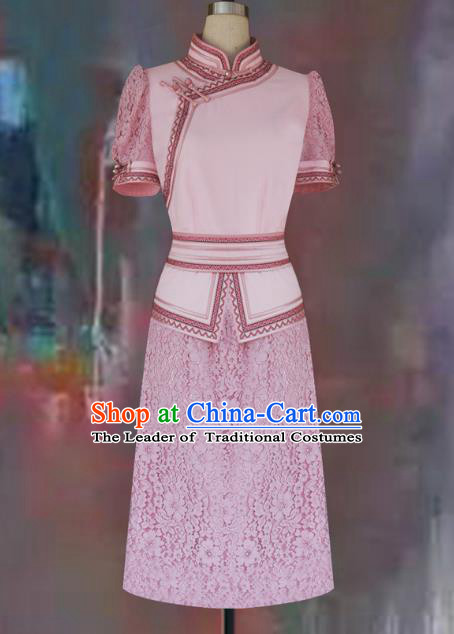 Traditional Chinese Mongol Nationality Dance Costume Pink Short Dress, Chinese Mongolian Minority Nationality Princess Mongolian Robe for Women