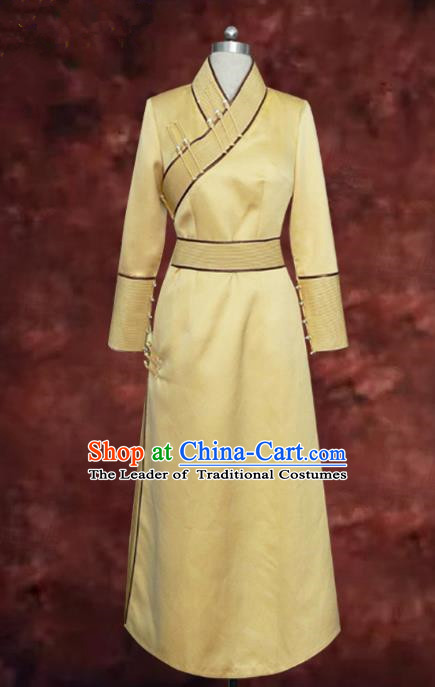 Traditional Chinese Mongol Nationality Bride Wedding Costume, Chinese Mongolian Minority Nationality Wedding Yellow Mongolian Robe for Women