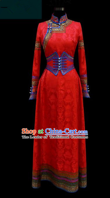 Traditional Chinese Mongol Nationality Costume Wedding Dress, Chinese Mongolian Minority Nationality Princess Bride Red Mongolian Robe for Women