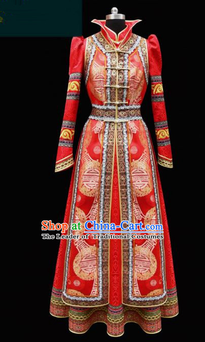 Traditional Chinese Mongol Nationality Costume Empress Wedding Clothing, Chinese Mongolian Minority Nationality Bride Red Mongolian Robe for Women