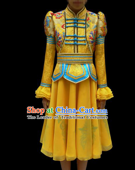 Traditional Chinese Mongol Nationality Costume Children Yellow Mongolian Robe, Chinese Mongolian Minority Nationality Dance Veil Dress Clothing for Kids