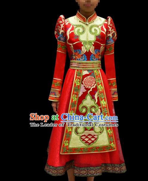 Traditional Chinese Mongol Nationality Costume Children Red Mongolian Robe, Chinese Mongolian Minority Nationality Dance Dress Clothing for Kids