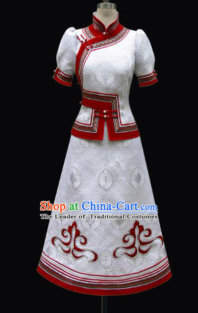 Traditional Chinese Mongol Nationality Costume Princess White Mongolian Robe, Chinese Mongolian Minority Nationality Dance Dress Clothing for Women