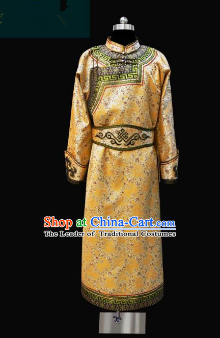 Traditional Chinese Mongol Nationality Dance Costume Golden Mongolian Robe, Chinese Mongolian Minority Nationality Royal Highness Embroidery Costume for Men