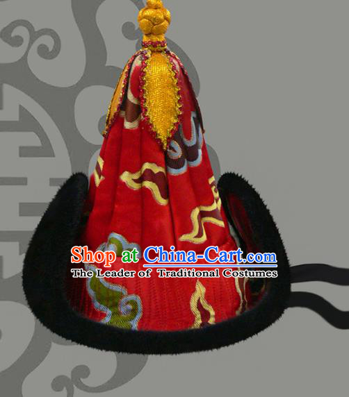 Traditional Chinese Mongol Nationality Royal Highness Hat, Chinese Mongolian Minority Nationality Headwear for Men