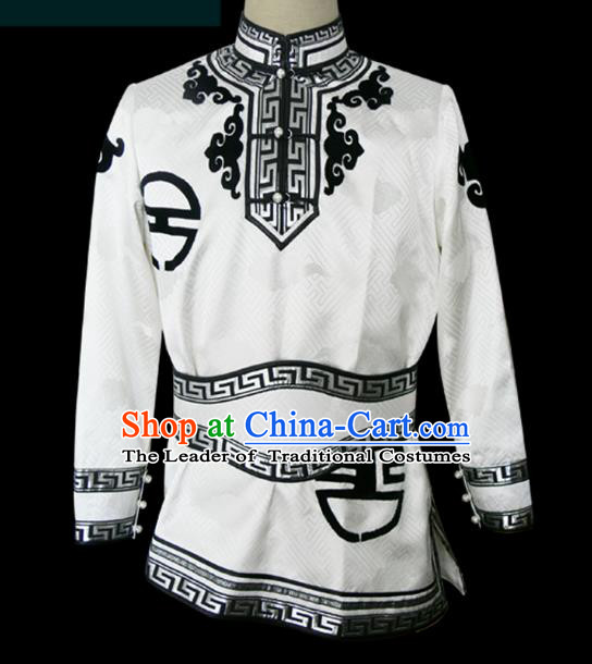 Traditional Chinese Mongol Nationality Dance Costume White Shirt, Chinese Mongolian Minority Nationality Upper Outer Garment for Men