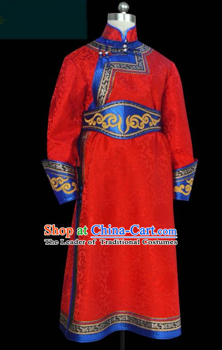 Traditional Chinese Mongol Nationality Costume Red Mongolian Robe, Chinese Mongolian Minority Nationality Clothing for Men