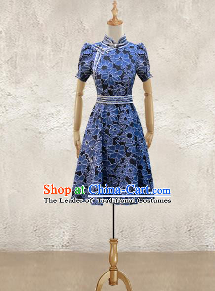 Traditional Chinese National Costume Elegant Hanfu Dress, China Tang Suit Plated Buttons Navy Chirpaur Cheongsam Qipao for Women