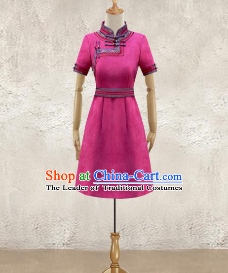 Traditional Chinese National Costume Elegant Hanfu Dress, China Tang Suit Plated Buttons Rosy Chirpaur Cheongsam Qipao for Women