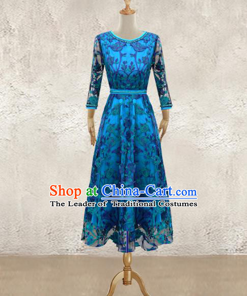 Traditional Chinese National Costume Elegant Hanfu Blue Long Dress, China Tang Suit Plated Buttons Chirpaur Lace Cheongsam Qipao for Women