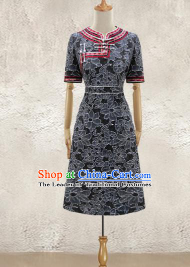 Traditional Chinese National Costume Elegant Hanfu Black Dress, China Tang Suit Plated Buttons Chirpaur Cheongsam Qipao for Women