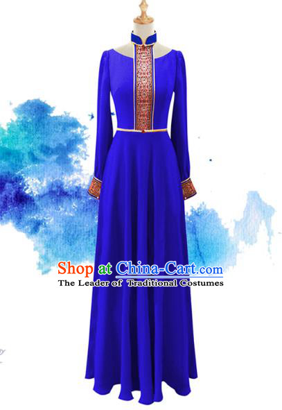 Traditional Chinese National Costume Elegant Hanfu Blue Long Dress, China Tang Suit Plated Buttons Chirpaur Cheongsam Qipao for Women