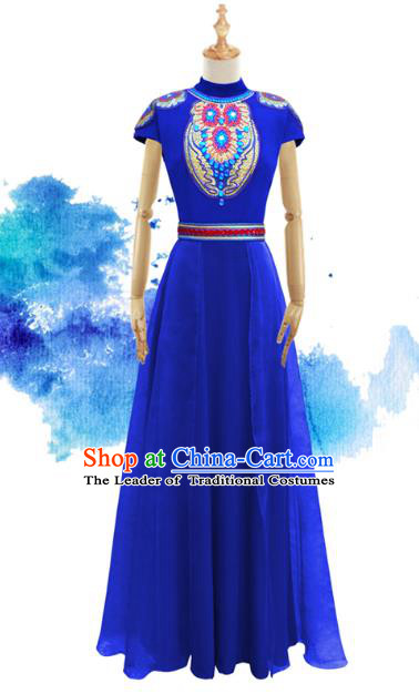 Traditional Chinese National Costume Elegant Hanfu Blue Mongolia Dress, China Tang Suit Plated Buttons Chirpaur Cheongsam Qipao for Women