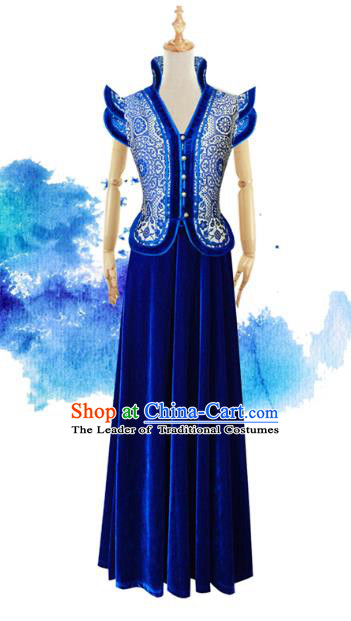 Traditional Chinese National Costume Elegant Hanfu Blue Mongolia Dress, China Tang Suit Chirpaur Cheongsam Qipao for Women