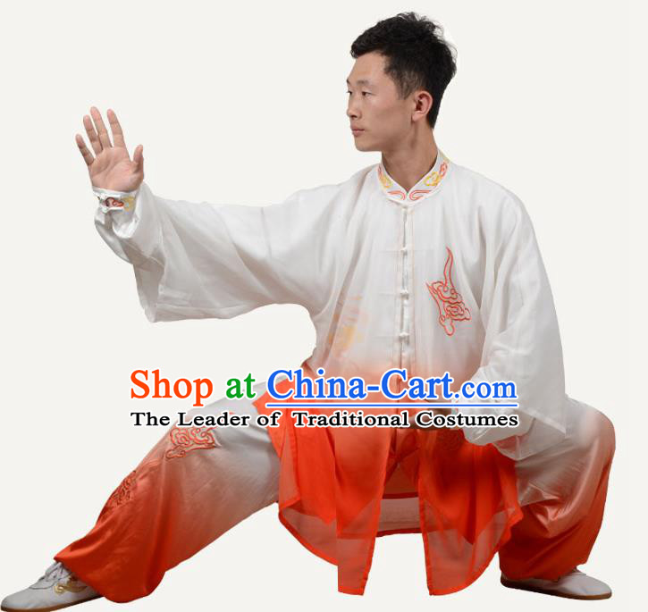 Top Kung Fu Costume Martial Arts Costume Kung Fu Training Orange Three-Piece Uniform, Gongfu Shaolin Wushu Embroidery Tai Ji Clothing for Men