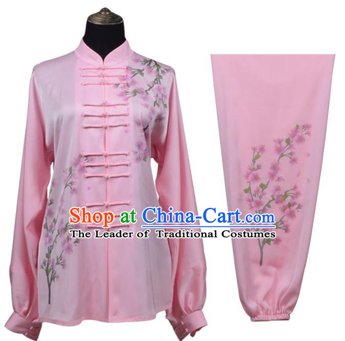 Top Kung Fu Costume Martial Arts Costume Kung Fu Training Pink Uniform, Gongfu Shaolin Wushu Embroidery Plum Blossom Tai Ji Clothing for Women
