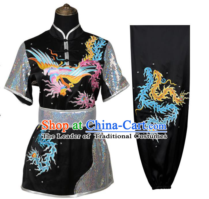 Top Kung Fu Costume Martial Arts Costume Kung Fu Training Black Uniform, Gongfu Shaolin Wushu Embroidery Dragon and Phoenix Tai Ji Clothing for Women