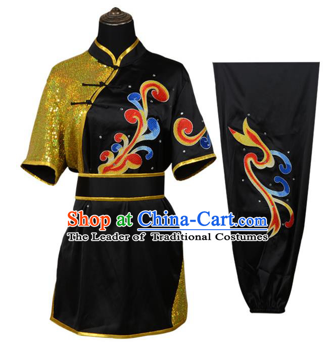 Top Kung Fu Costume Martial Arts Costume Kung Fu Training Black Uniform, Gongfu Shaolin Wushu Embroidery Tai Ji Clothing for Women