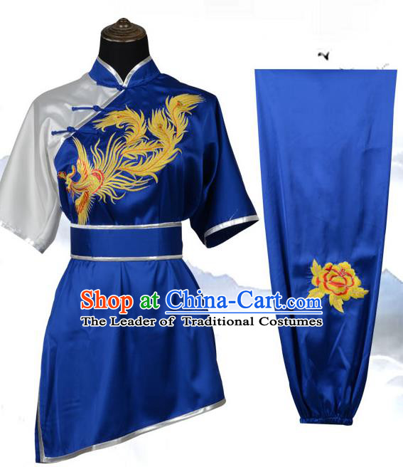 Top Kung Fu Costume Martial Arts Costume Kung Fu Training Black Uniform, Gongfu Shaolin Wushu Embroidery Phoenix Tai Ji Clothing for Women