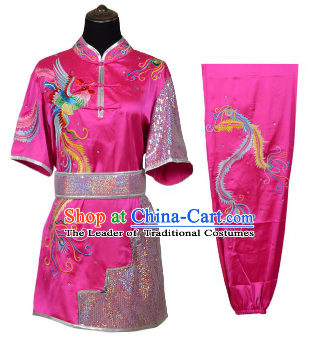 Top Kung Fu Costume Martial Arts Costume Kung Fu Training Pink Uniform, Gongfu Shaolin Wushu Embroidery Phoenix Tai Ji Clothing for Women