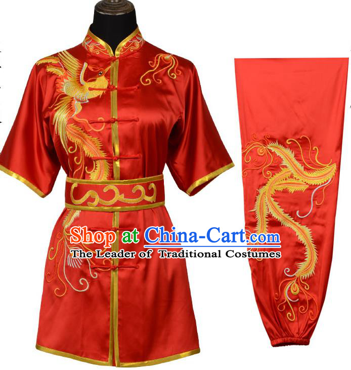 Top Kung Fu Costume Martial Arts Costume Kung Fu Training Red Uniform, Gongfu Shaolin Wushu Embroidery Phoenix Tai Ji Clothing for Women