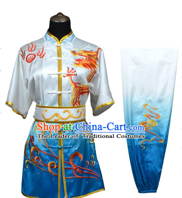 Top Kung Fu Costume Martial Arts Costume Kung Fu Training Blue Uniform, Gongfu Shaolin Wushu Embroidery Dragon Tai Ji Clothing for Women