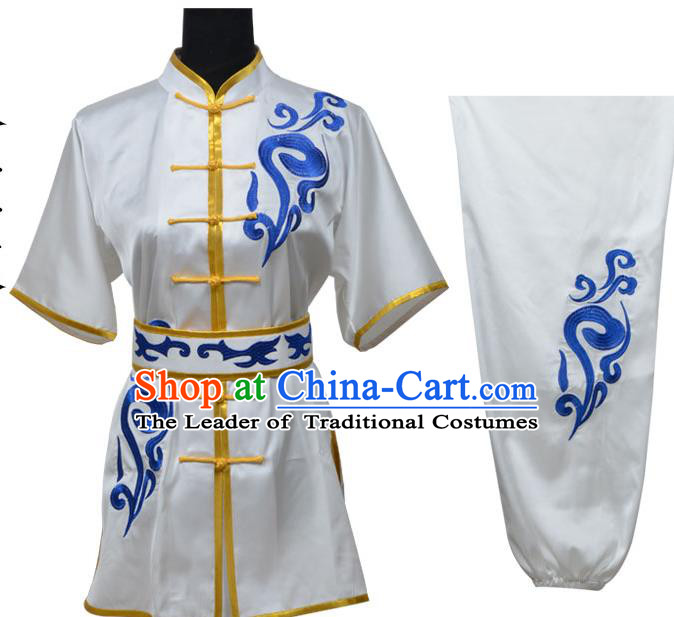 Top Kung Fu Costume Martial Arts Costume Kung Fu Training White Uniform, Gongfu Shaolin Wushu Embroidery Tai Ji Clothing for Women