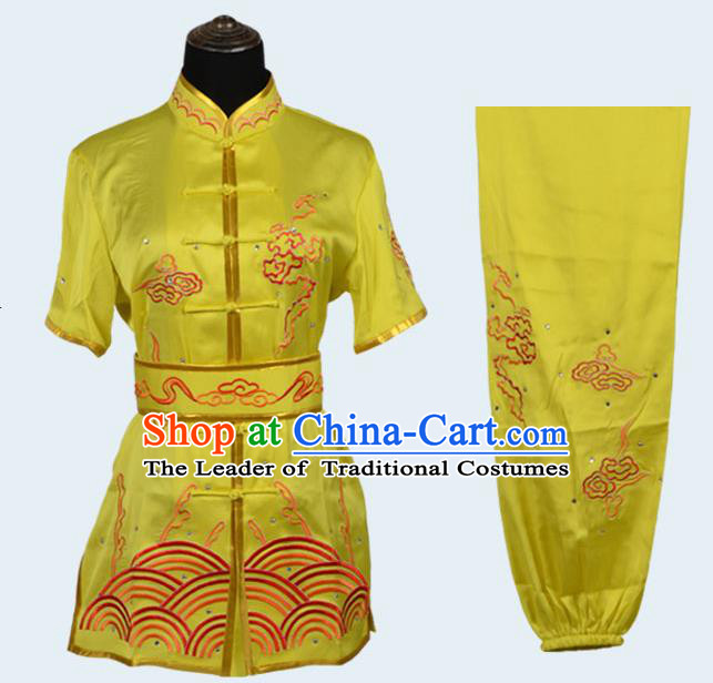 Top Kung Fu Costume Martial Arts Costume Kung Fu Training Yellow Uniform, Gongfu Shaolin Wushu Embroidery Tai Ji Clothing for Women