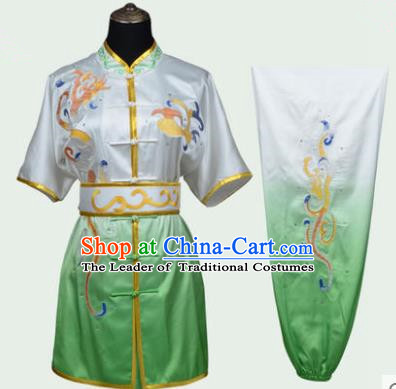 Top Kung Fu Costume Martial Arts Costume Kung Fu Training Green Uniform, Gongfu Shaolin Wushu Embroidery Tai Ji Clothing for Women