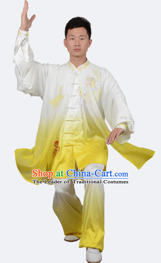Top Kung Fu Costume Martial Arts Costume Kung Fu Training Yellow Uniform, Gongfu Shaolin Wushu Embroidery Dragon Tai Ji Clothing for Women for Men