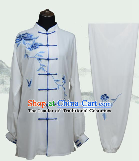 Top Kung Fu Costume Martial Arts Costume Kung Fu Training Plated Buttons Uniform, Gongfu Shaolin Wushu Embroidery Peony Tai Ji Clothing for Women for Men