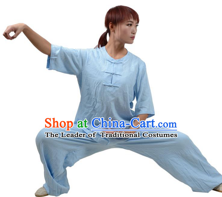 Top Kung Fu Linen Costume Martial Arts Costume Kung Fu Training Plated Buttons Light Blue Uniform, Gongfu Shaolin Wushu Tai Ji Clothing for Women for Men