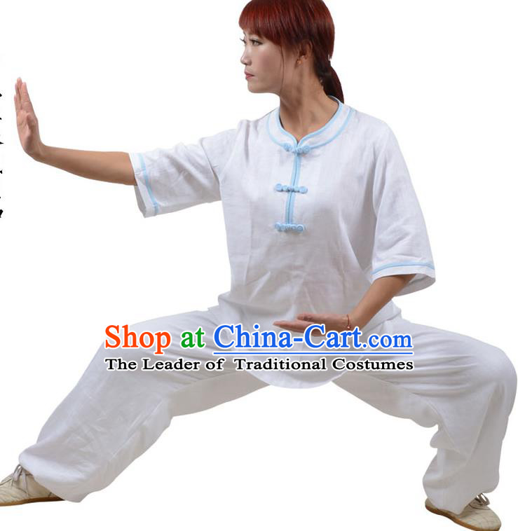 Top Kung Fu Linen Costume Martial Arts Costume Kung Fu Training Blue Plated Buttons White Uniform, Gongfu Shaolin Wushu Tai Ji Clothing for Women for Men