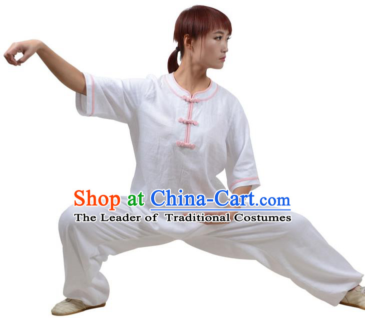 Top Kung Fu Linen Costume Martial Arts Costume Kung Fu Training Pink Plated Buttons White Uniform, Gongfu Shaolin Wushu Tai Ji Clothing for Women for Men