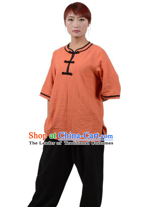 Top Kung Fu Linen Costume Martial Arts Costume Kung Fu Training Plated Buttons Orange Uniform, Gongfu Shaolin Wushu Tai Ji Clothing for Women for Men