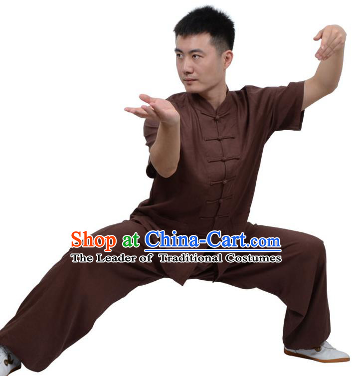Top Kung Fu Linen Costume Martial Arts Costume Kung Fu Training Short Sleeve Coffee Uniform, Gongfu Shaolin Wushu Tai Ji Plated Buttons Clothing for Women for Men